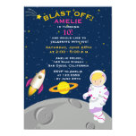 Outer Space Astronaut  Birthday Party Invitation