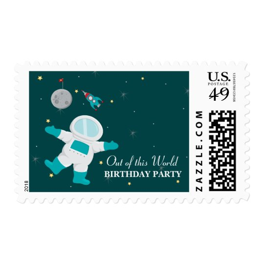 Outer space astronaut birthday party stamps