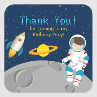 Outer Space Astronaut  Birthday Party Sticker Square Sticker