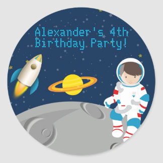 Outer Space Astronaut  Birthday Party Sticker