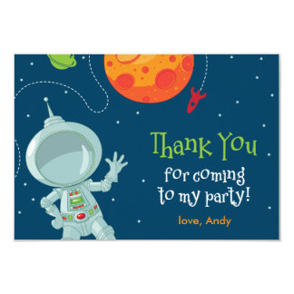 """Outer Space Astronaut Birthday Thank You Card 3.5"""" X 5"""" Invitation Card"""