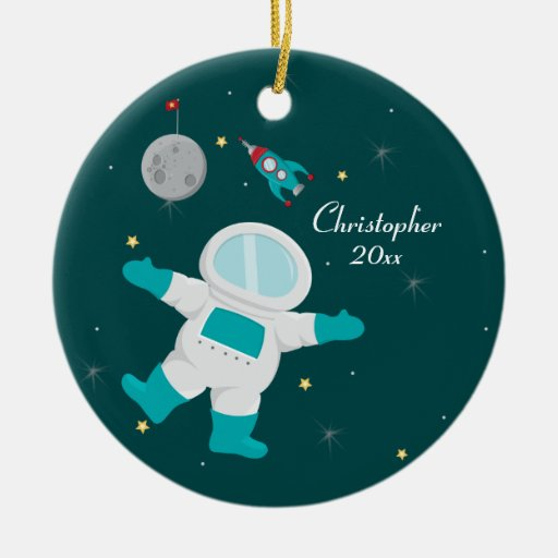Outer space astronaut personalized photo ornament