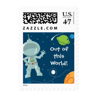 Outer Space Astronaut Postage Stamp