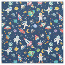 Outer Space Astronauts Aliens Pattern Blue Fabric