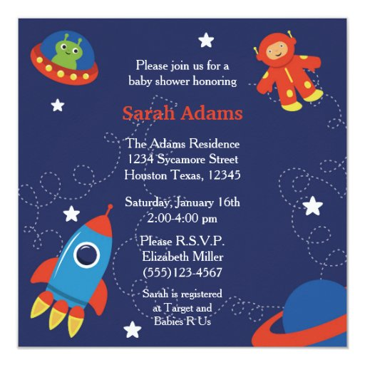 Outer space baby shower invitation zazzle for Space themed stationery
