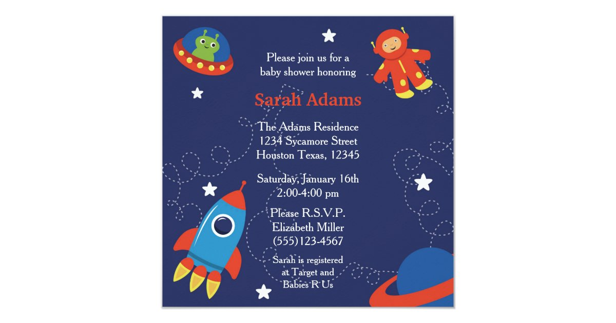 Outer Space Baby Shower Invitation Zazzle Com