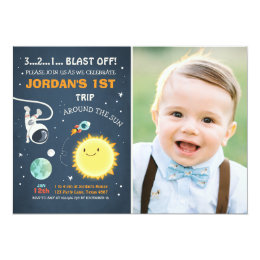Outer Space Birthday Invitation Rocket Astronaut