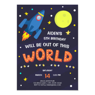Outer Space Birthday Invitation with Photo