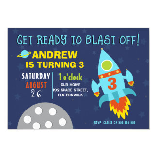 Outer Space Birthday Party Invitation For Boy