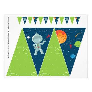 Outer Space Birthday Pennant Flag Banner Flyer