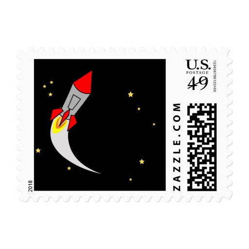 outer SPACE BIRTHDAY rocket stamp