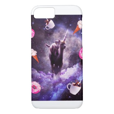 Outer Space Cat Riding Alpaca Unicorn iPhone 8/7 Case