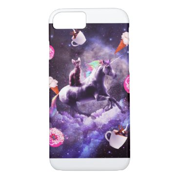 Outer Space Cat Riding Unicorn - Donut iPhone 8/7 Case