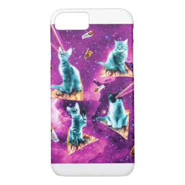 Outer Space Cats With Rainbow Laser Eyes On Pizza iPhone 8/7 Case