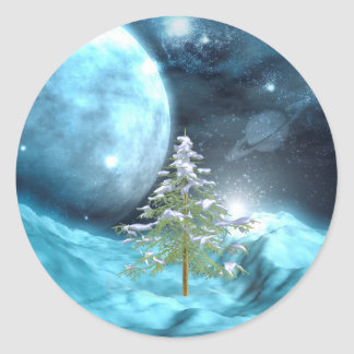 Outer Space Christmas Classic Round Sticker