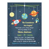 Outer Space Crib Toys Baby Shower Invitations