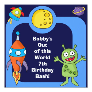 """Outer Space Customized Birthday Invites 5.25"""" Square Invitation Card"""