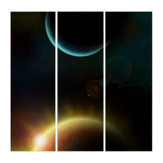 Outer Space Flare Reflection Acrylic Triptych Art