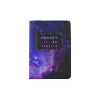 Outer Space Galaxy / Nebula Blue Stars Custom Passport Holder