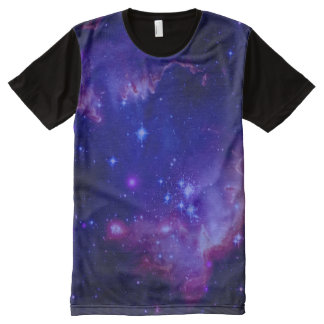 Outer Space Galaxy / Nebula Blue Tint Stars All-Over-Print T-Shirt