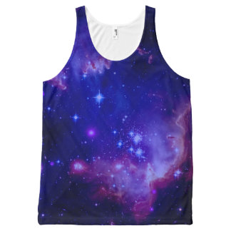 Outer Space Galaxy / Nebula Blue Tint Stars All-Over Print Tank Top