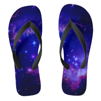Outer Space Galaxy / Nebula Blue Tint Stars Flip Flops