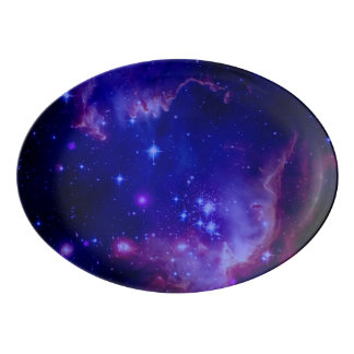 Outer Space Galaxy / Nebula Blue Tint Stars Porcelain Serving Platter
