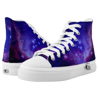 Outer Space Galaxy / Nebula Blue Tinted Stars High-Top Sneakers