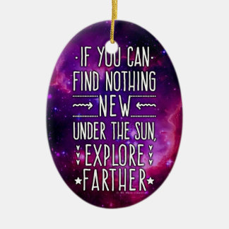 Outer Space Galaxy / Nebula Exploration Words 2 Ceramic Ornament