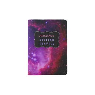 Outer Space Galaxy / Nebula Purple Stars Custom Passport Holder