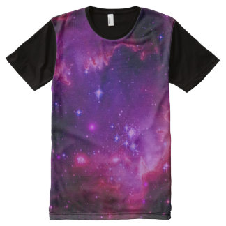 Outer Space Galaxy / Nebula Purple Tint Stars All-Over-Print Shirt