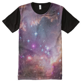 Outer Space Galaxy / Nebula Purple Tint Stars All-Over-Print T-Shirt