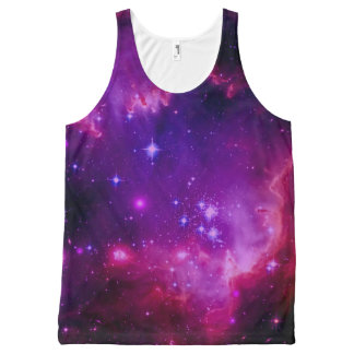 Outer Space Galaxy / Nebula Purple Tint Stars All-Over Print Tank Top