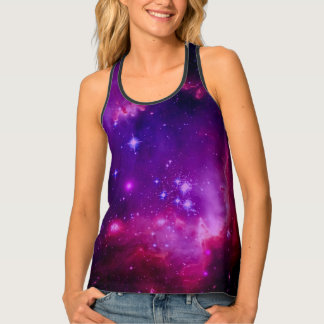 Outer Space Galaxy | Nebula Purple Tint Stars Tank Top