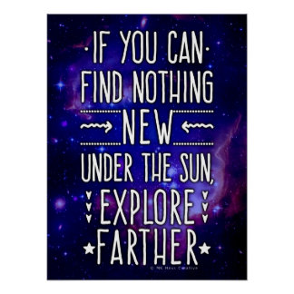 Outer Space Galaxy / Nebula with Exploration Words Poster