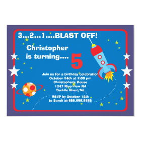 Outer Space Kids Birthday Party Invitation 5
