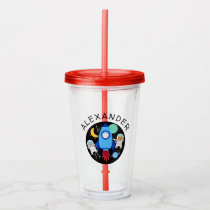 Outer Space Kitten Cat Astronaut Kids Personalized Acrylic Tumbler