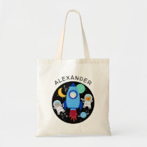 Outer Space Kitten Cat Astronaut Kids Personalized Tote Bag