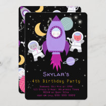Outer Space Kittens Cat Astronaut Birthday Pink Invitation