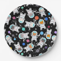 Outer Space Kittens Cat Astronaut Cute Birthday Paper Plate