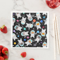 Outer Space Kittens Cat Astronaut Cute Pattern Paper Dinner Napkins