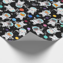 Outer Space Kittens Cat Astronaut Cute Pattern Wrapping Paper