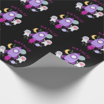 Outer Space Kittens Cat Astronaut Girls Birthday Wrapping Paper