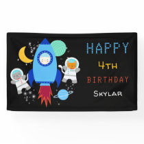 Outer Space Kittens Cat Astronaut Kids Birthday Banner