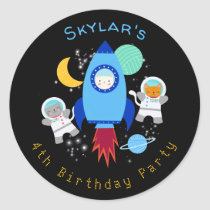 Outer Space Kittens Cat Astronaut Kids Birthday Classic Round Sticker