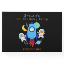 Outer Space Kittens Cat Astronaut Kids Birthday Guest Book