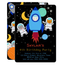 Outer Space Kittens Cat Astronaut Kids Birthday Invitation