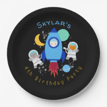 Outer Space Kittens Cat Astronaut Kids Birthday Paper Plate