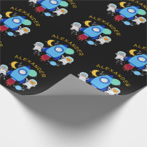 Outer Space Kittens Cat Astronaut Kids Birthday Wrapping Paper