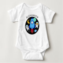 Outer Space Kittens Cat Astronaut Kids Rocket Ship Baby Bodysuit